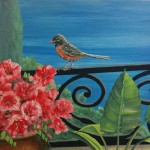 Bird and red flowers in Pot mural