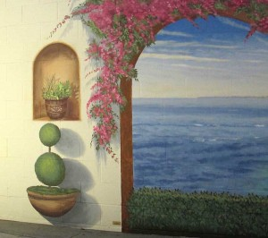 Sharp Memorial Hospital in the San Diego, California area. It is a Trompe L'oeil (trick the eye) Trompe L'oeil mural close up of potted plant on wall plus niche