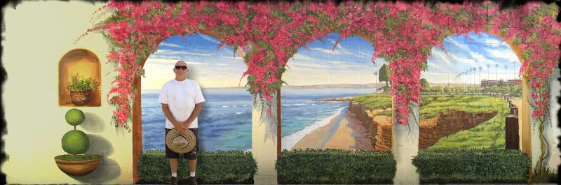 Commercial Public Murals Bougainvillea mural far right on curved wall by Rik Erickson