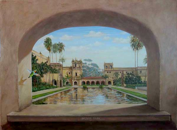 Trick-The-Eye painting of Reflecting Pond through an arched window