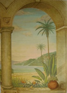 Ocean view through arched window with waterfall and banana leaf plants By San Diego artist Rik Erickson