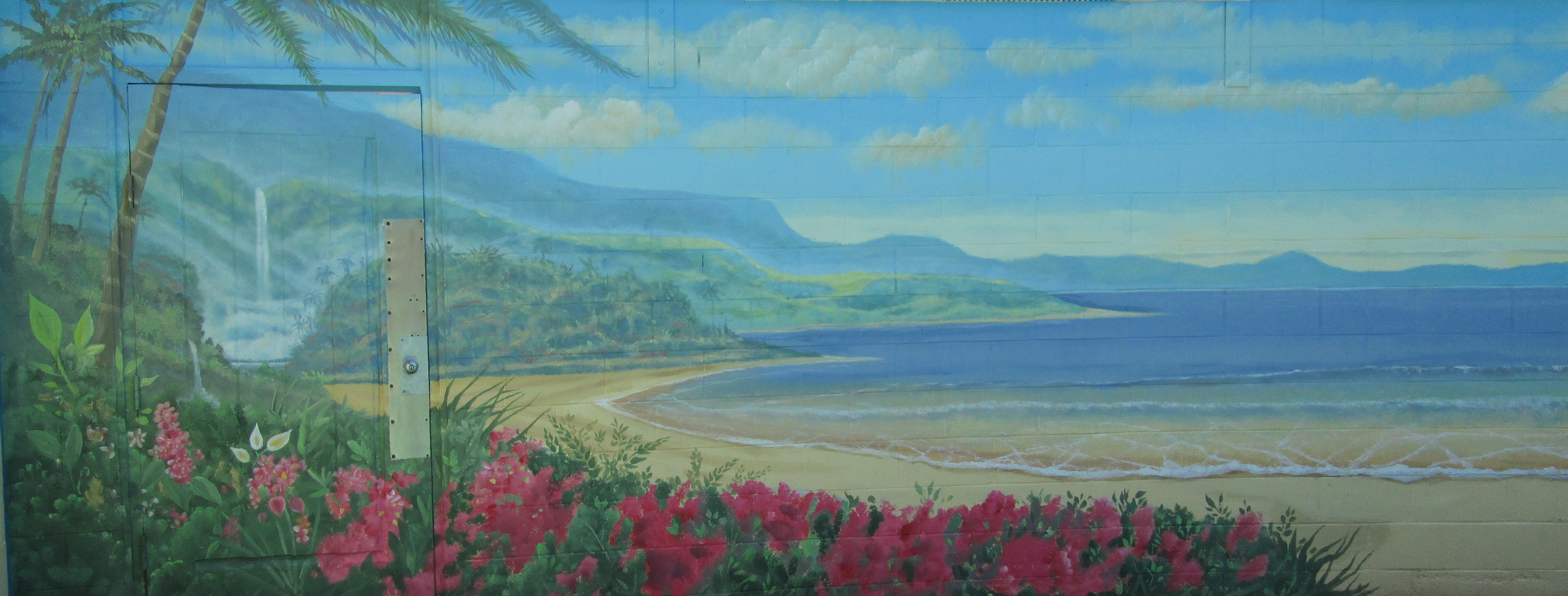 Commercial Public Murals Beach scene mural painted in San Diego by Rik Erickson of Murals Fantastic