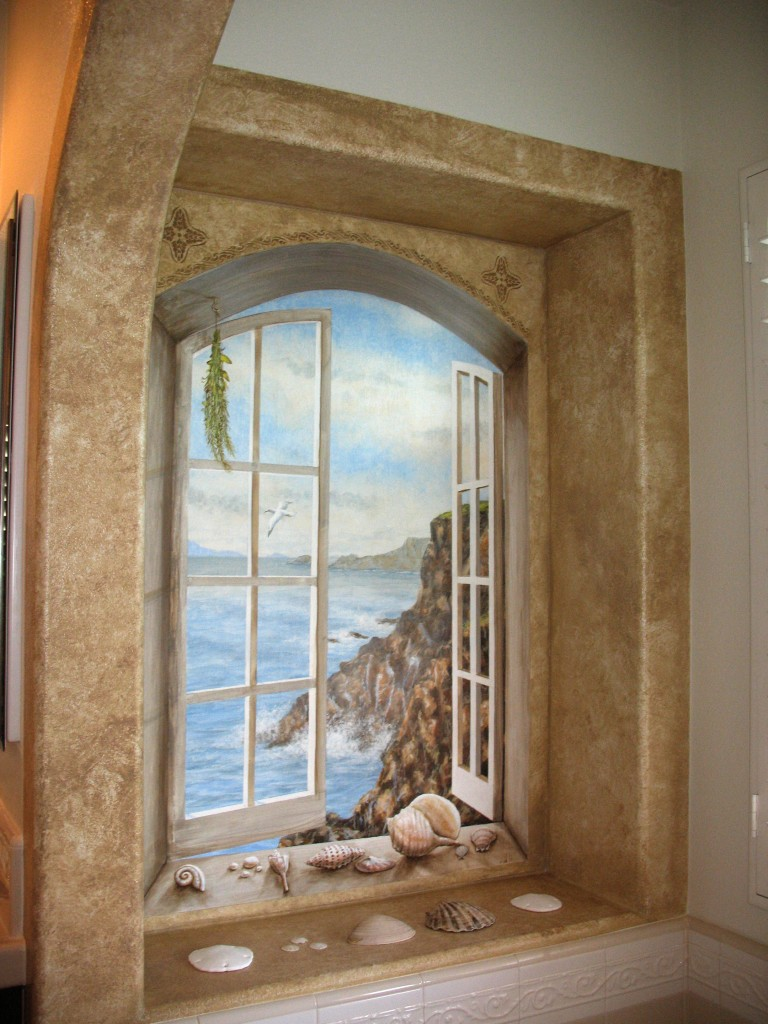 Trompe L'oeil Ocean through window scene by Rik Erickson in San Diego, California mural 2