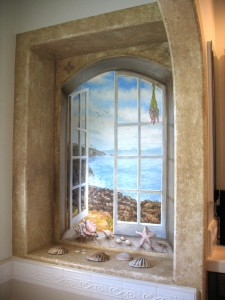 Trompe L'oeil Ocean through window scene by Rik Erickson in San Diego, California mural