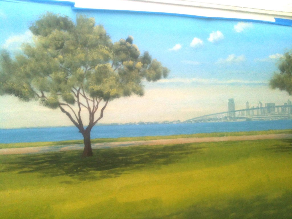Baypark mural with San Diego skyline