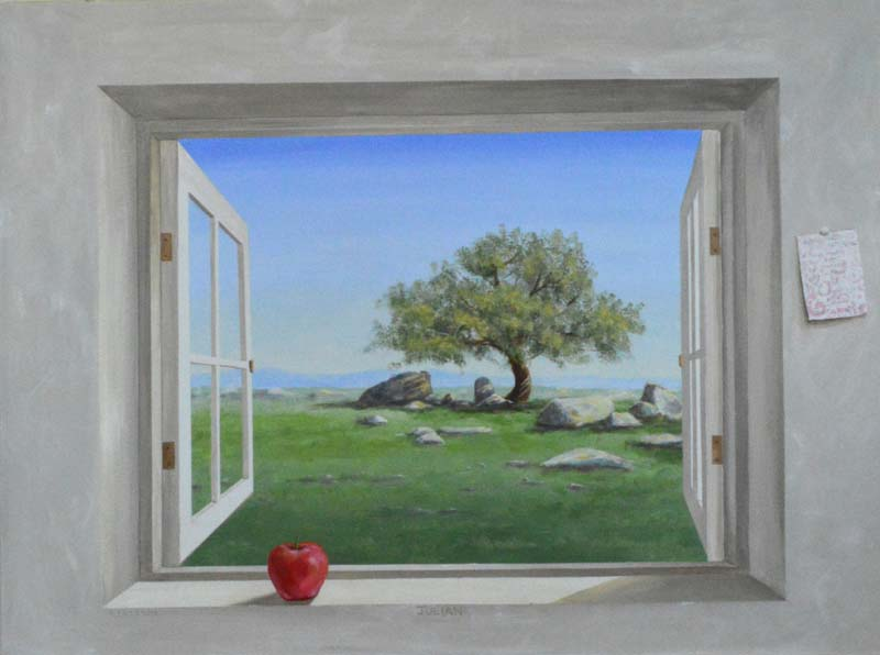 Apple tree with apple on window sill trompe loeil painting in San Diego mural
