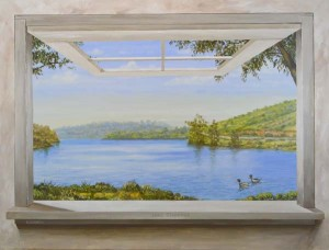 """Lake Jennings"" trick the eye window scene by Rik Erickson in San Diego, California"