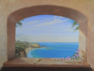 La Jolla trick the eye window scene by Rik Erickson in San Diego, California