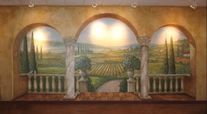 Italian mural painted for USMC at Camp Pendleton, California. This mural was designed for the beer and wine store located on base by San Diego mural artist Rik Erickson at Murals Fantastic