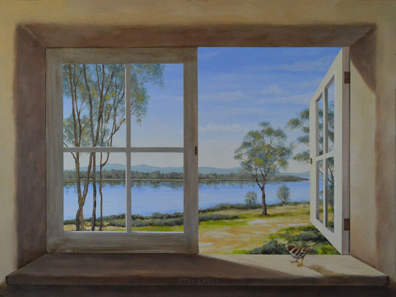 Otay Lakes through open window trompel'oeil By San Diego artist Rik Erickson