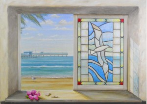 Ocean Beach Mural through Trompe L'oeil window painted by mural artist Rik Erickson of Murals Fantastic in San Diego, California