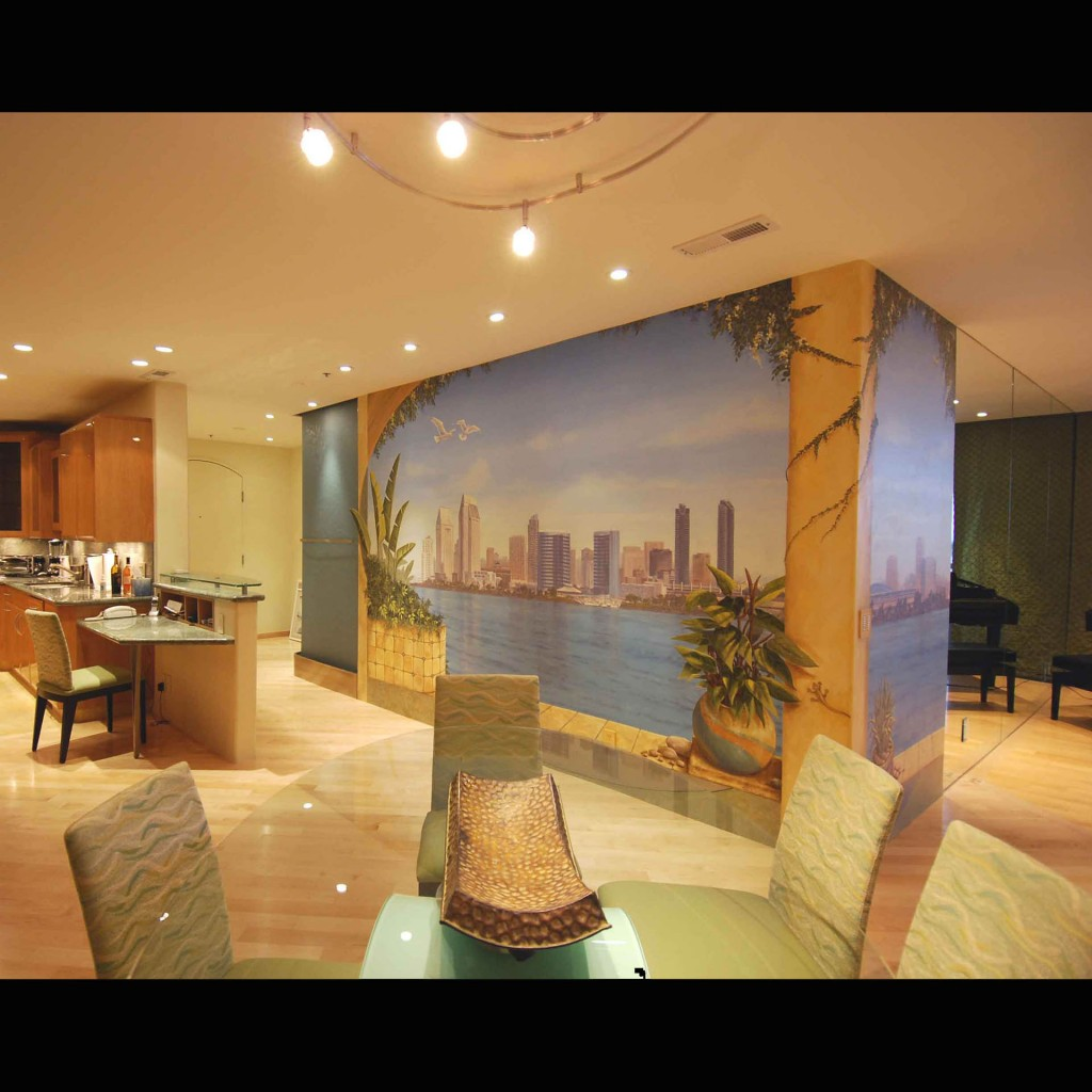 San Diego Skyline mural from kitchen area by Rik Erickson in San Diego, California