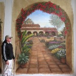 Trick The Eye Mural of Adobe Spanish Mission entrance to garden