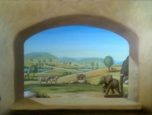 Wild Animal Park window painting by Rik Erickson in San Diego, California