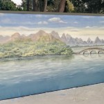 Zen Oriental mural on water with bridge