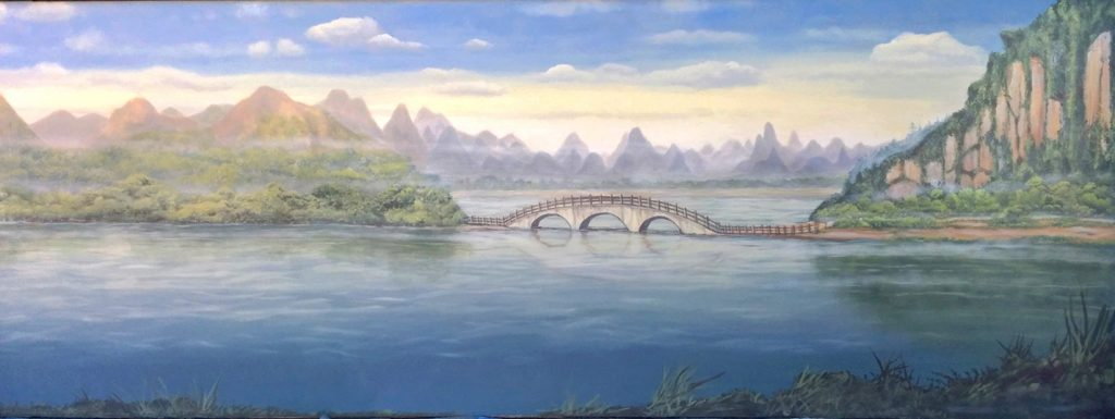 Misty Zen Oriental mural scene with flowing water, bridge and distant mountains