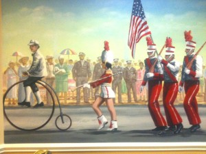 Firetruck Mural marching girl and big bike by Rik Erickson in San Diego, California