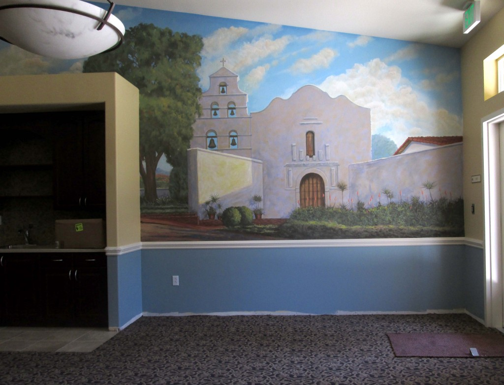 Spanish style mission mural located in San Diego California