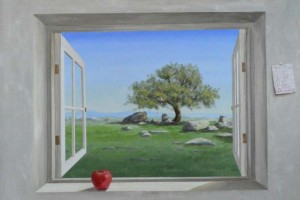 """Julian"" window mural with apple on sill By San Diego artist Rik Erickson"