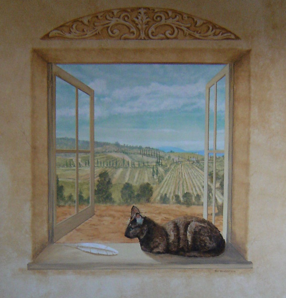 Trick The Eye cat on window Rik Erickson in San Diego, California mural sill