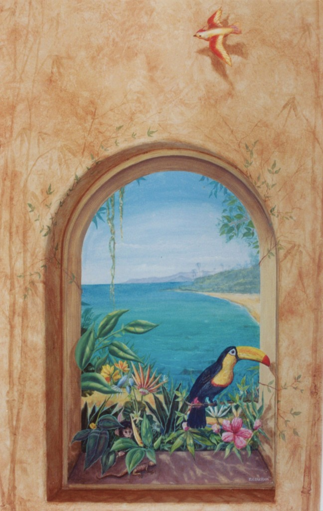 Tropical View mural with Toucan and hidden monkey By San Diego artist Rik Erickson