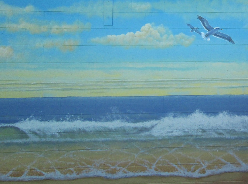 Close Up Seagulls Pacific ocean mural painted for Sharp Hospital in San Diego