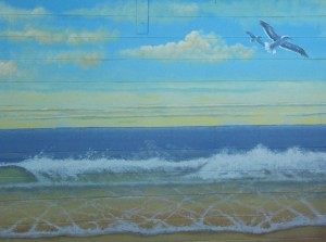 Pacific ocean mural painted for Sharp Hospital in San Diego