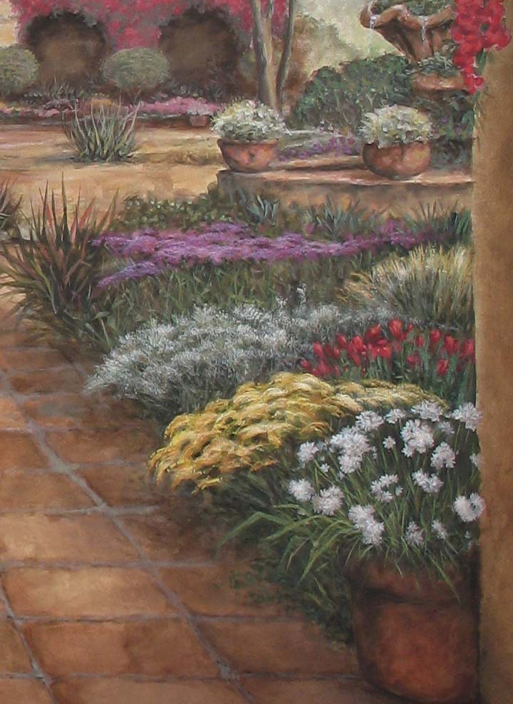 Colorful Flower Garden in Spanish Mission