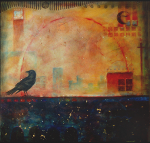 Black Crow in the City painting by Rik Erickson in San Diego, Califonia