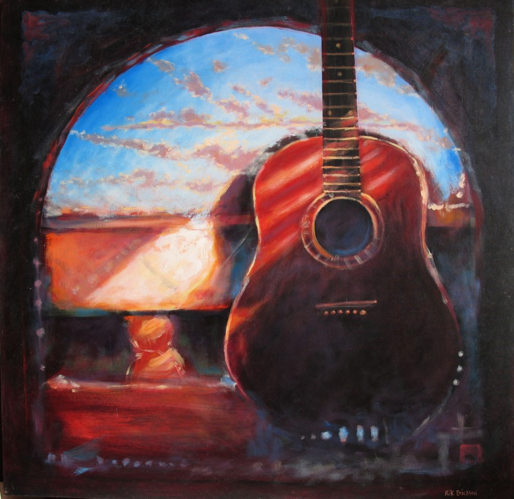 Red guitar on canvas by artist Rik Erickson in San Diego, California