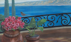 Mural looking at La Jolla Cove from a balcony with black iron railings and potted plants close up
