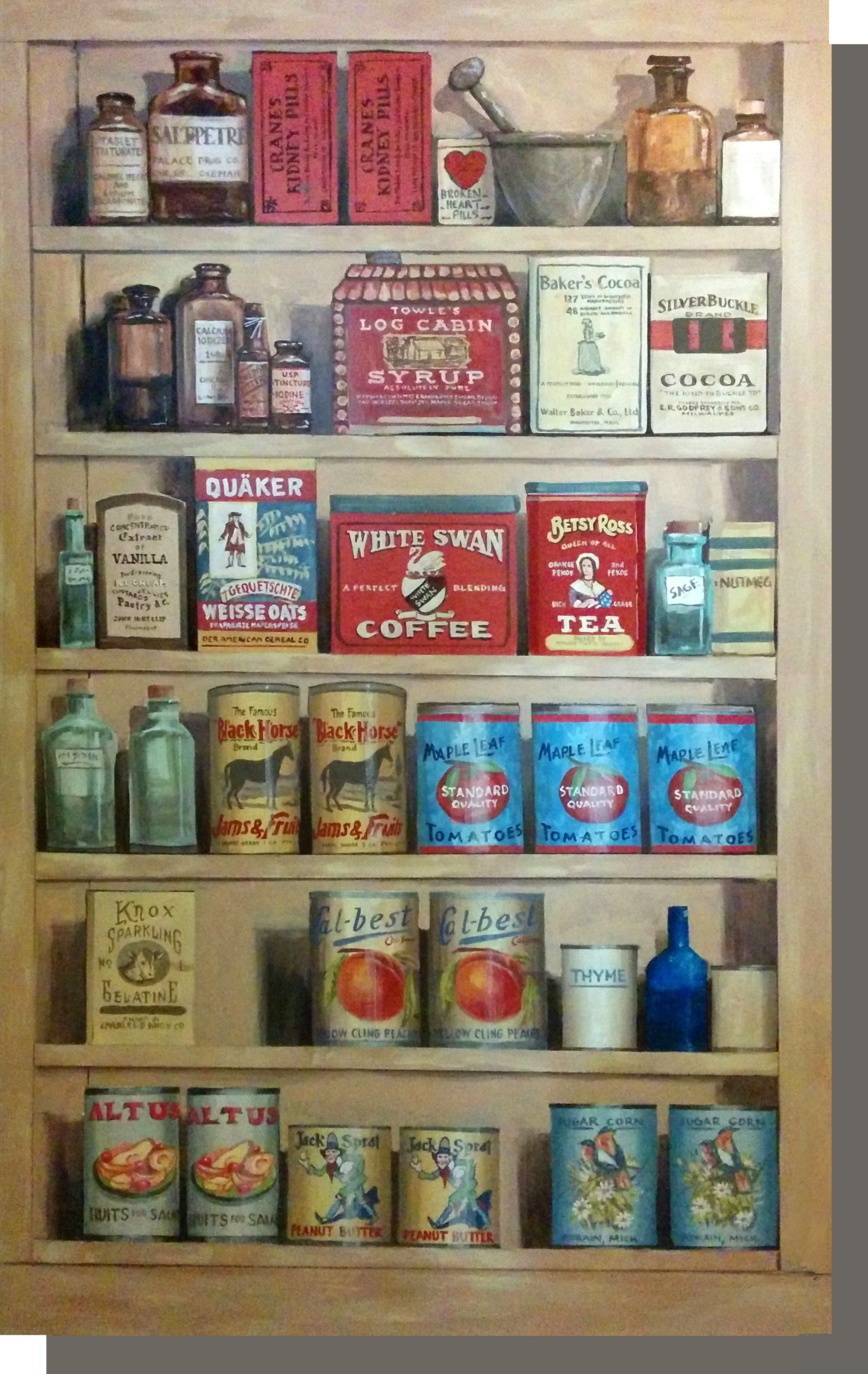 Store Shelves with items found in the 1800's