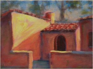 """Ireland House"" ""Open Window"" pastel on canvas 8"" x 10"" painting by San Diego artist Rik Erickson"
