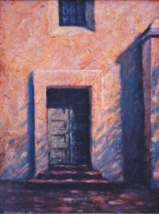 """Adobe Door"" oil on board 24"" x 18"" painting by San Diego artist Rik Erickson"
