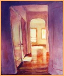 """Light Down Hall"" acrylic on board"