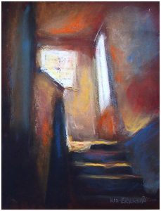 """Light At Top Of Stairs"" pastel 10"" x 8"""