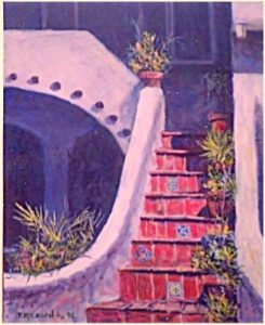 """Red Stairs"" oil on board artist san diego"