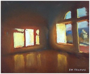 """Three Windows"" pastel 8"" x 10"" painting by San Diego artist Rik Erickson"