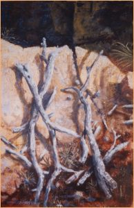"""Tree Bones in the Grand Canyon"" oil on mixed media 36"" x 24"""