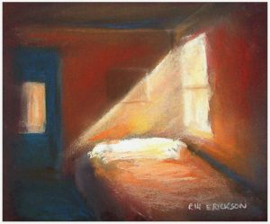 """Window Light on Bed"" pastel 8"" x 10"" painting by San Diego artist Rik Erickson"