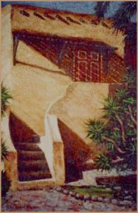 """California Adobe"" oil on textured canvas 36"" x 24"""