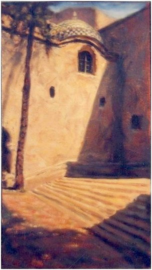 """Long Shadow"" oil on canvas 27"" x 15"" San Diego artist Rik Erickson"
