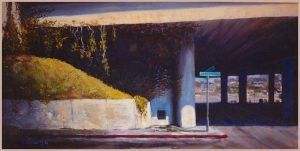 """Underpass"" oil on canvas 24"" x 48"" San Diego artist Rik Erickson"