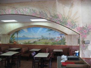 Commercial Public Murals Cabo Mural with wall treatments in San Diego, Hillcrest