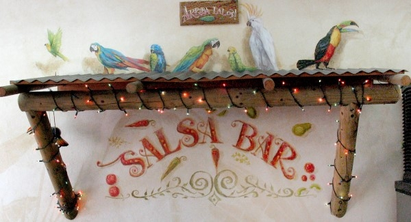 Salsa Bar Hand Painted Lettering and Tropical Birds in San Diego California by Rik Erickson