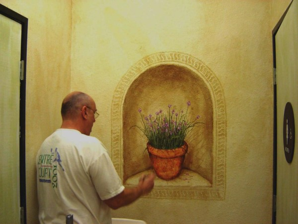 Mexican Restaurant Murals and Faux Wall Treatments Trompe L'oeil Niche with Potted Chives Plant