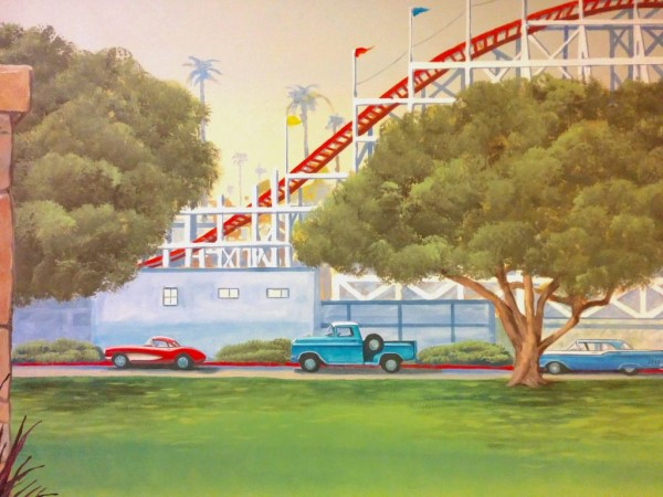 Vintage Cars and Roller Coaster Mural