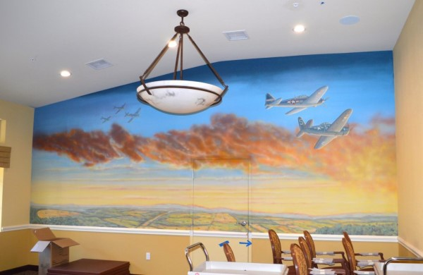 Flying High Mural with Corsairs over Sunset