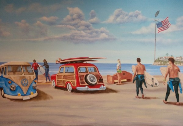 Vintage VW Bus and Woodie Mural