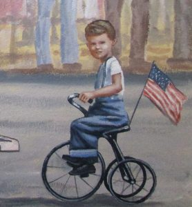 Little Boy riding tricycle in mural San Diego